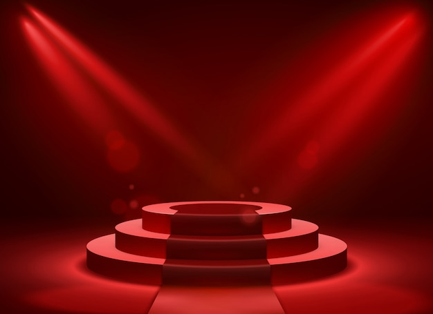 Stage podium lighting. award ceremony victory pedestal champion, show victory, event celebration winner place