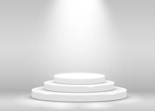スポットライトで照らされた授賞式のステージ表彰台シーン。授賞式のコンセプト。舞台背景。ベクトルイラスト