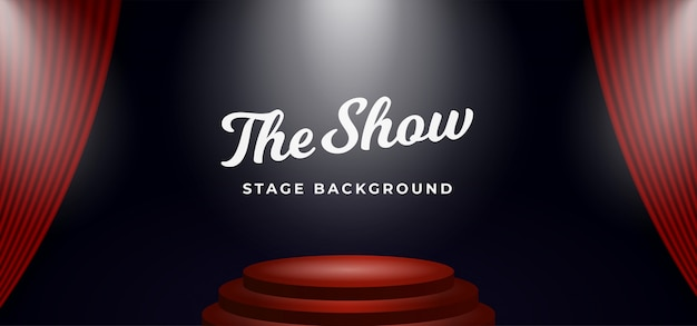 Stage podium spotlight on open theater curtain backdrop