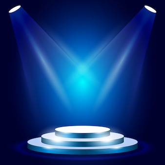 Stage or podium in spotlight rays - blank award pedestal