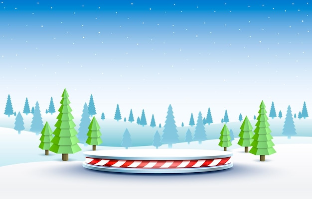 Stage podium in winter landscape with christmas decoration