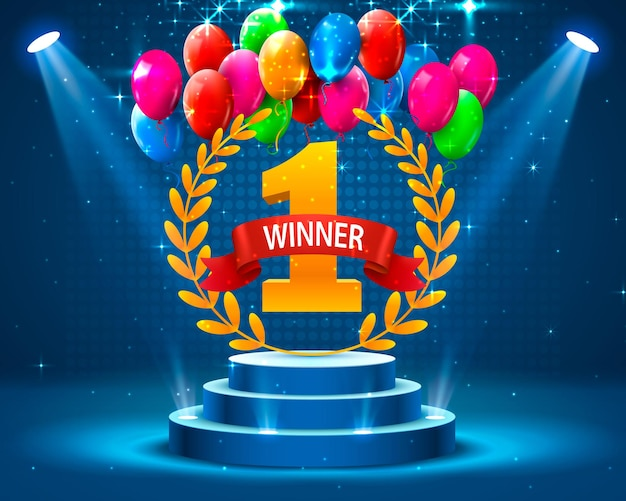 Stage podium with lighting and balloons, stage podium scene with for award ceremony on blue background, vector illustration