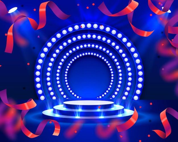 照明の紙吹雪とステージ表彰台、赤い背景の上の授賞式のためのステージ表彰台シーン、ベクトル図