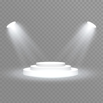 Stage podium with lighting, stage podium scene with for award ceremony on blue background,