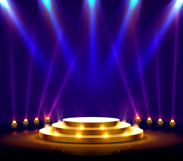 Stage podium with lighting, stage podium scene with for award ceremony on blue background