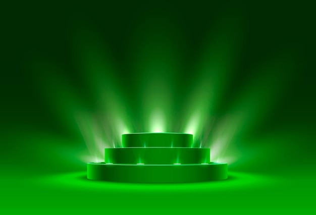 Stage podium with lighting, stage podium scene with for award ceremony on green background, vector illustration