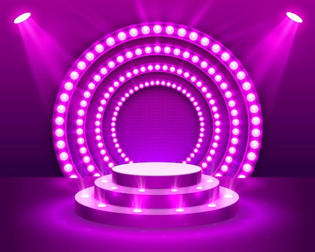 Stage podium with lighting, stage podium scene with for award ceremony on purple background, vector illustration