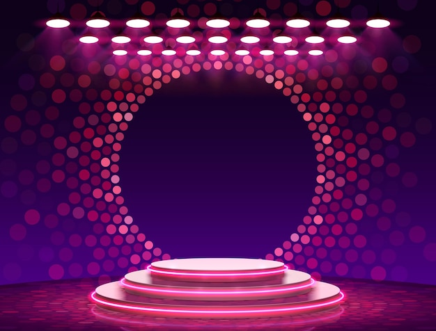 Stage podium with lighting, stage podium scene with for award ceremony on purple background,