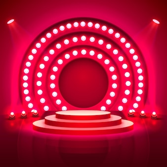 Stage podium with lighting, stage podium scene with for award ceremony on red background, vector illustration