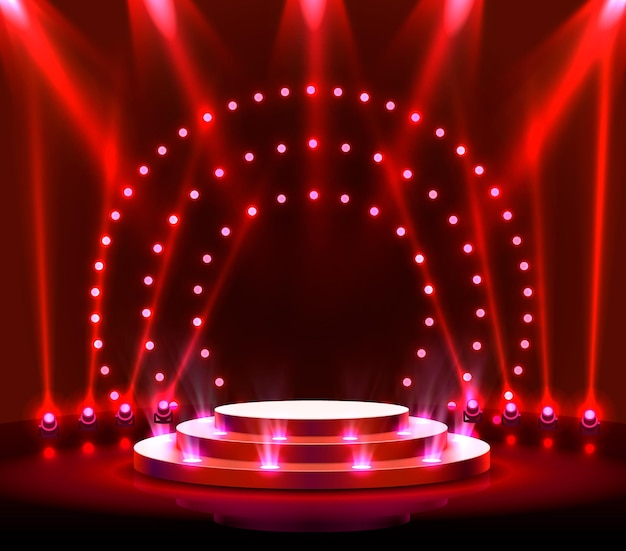 Stage podium with lighting, stage podium scene with for award ceremony on red background