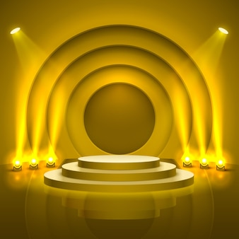 Stage podium with lighting, stage podium scene with for award ceremony on yellow background, vector illustration