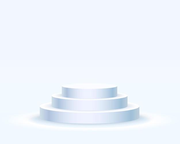 조명이 있는 무대 연단, 파란색 배경, 벡터 일러스트 레이 션에 시상식을 위한 무대 연단 장면