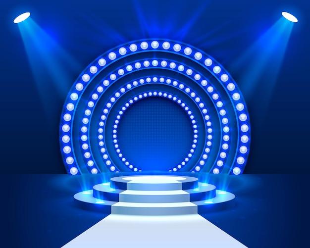 照明付きステージ表彰台、青い背景の授賞式のためのステージ表彰台シーン、ベクトル図