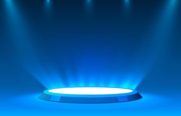 照明付きのステージ表彰台、青い背景の授賞式のためのステージ表彰台シーン