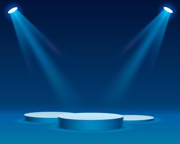 파란색 배경에 시상식에 대한 조명 무대 연단 장면과 무대 연단