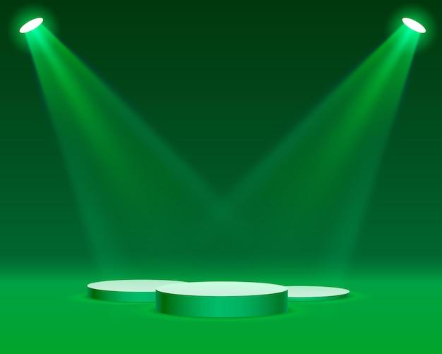 녹색 배경에 시상식을 위해 조명 무대 연단 장면과 무대 연단