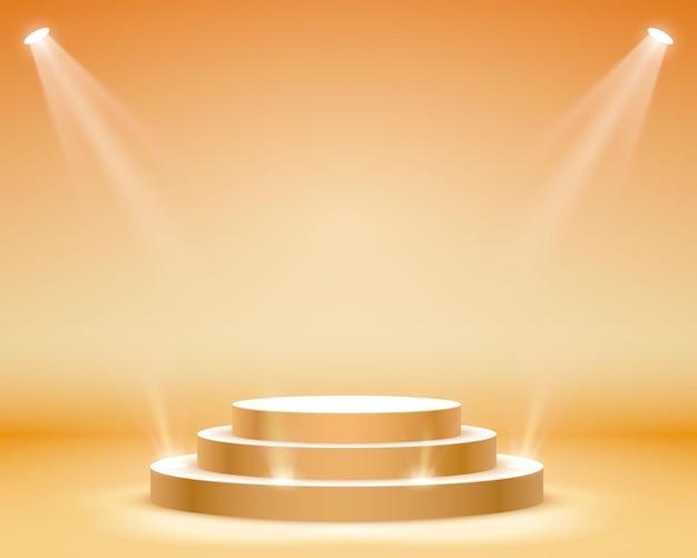 조명이 있는 무대 연단, 주황색 배경, 벡터 일러스트 레이 션에 시상식을 위한 무대 연단 장면