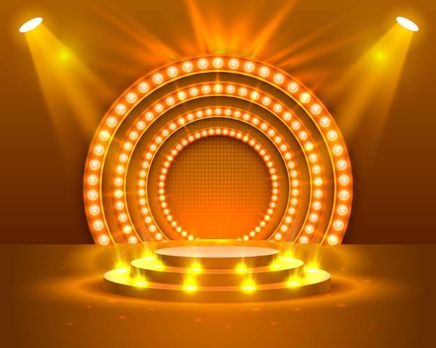照明付きのステージ表彰台、オレンジ色の背景に授賞式のステージ表彰台シーン、ベクトルイラスト