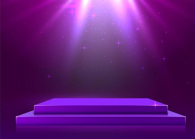 조명이있는 무대 연단, 보라색 배경에 시상식을위한 무대 연단 장면. 벡터 일러스트 레이 션