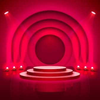 照明付きのステージ表彰台、赤い背景の授賞式のためのステージ表彰台シーン、ベクトル図