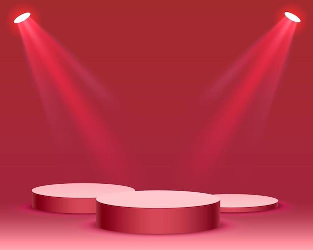 빨간색 배경에 시상식을 위해 조명 무대 연단 장면과 무대 연단