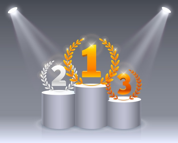 照明付きステージ表彰台、白い背景の上の授賞式のためのステージ表彰台シーン、ベクトル図