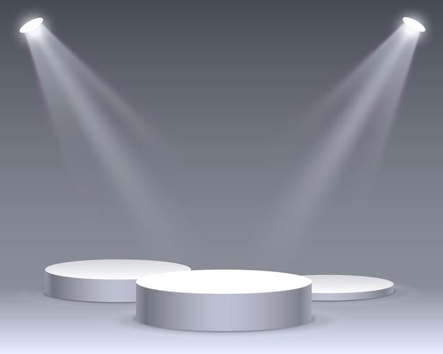 흰색 바탕에 시상식에 대 한 조명 무대 연단 장면과 무대 연단