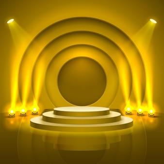 照明付きのステージ表彰台、黄色の背景に授賞式のステージ表彰台シーン、ベクトル図