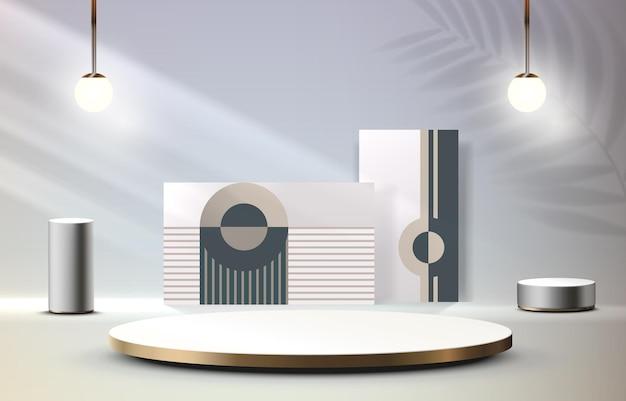 賞の装飾要素の背景ベクトルのための照明ステージ表彰台シーンとステージ表彰台