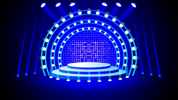 Stage podium with lighting