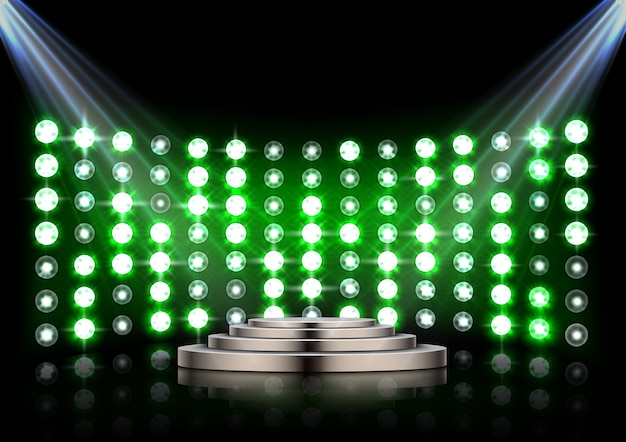 Stage podium with spotlights on dark background