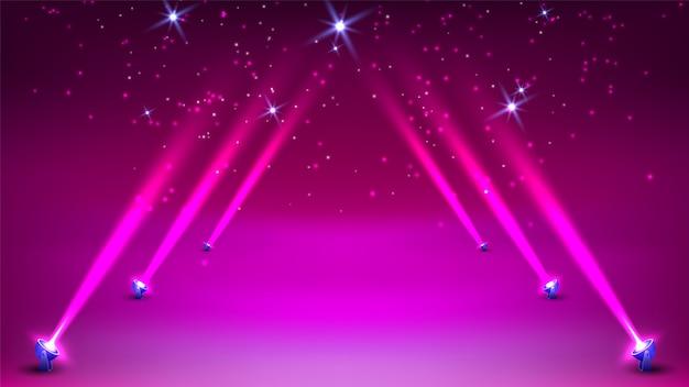 Stage podium with spotlights lighting