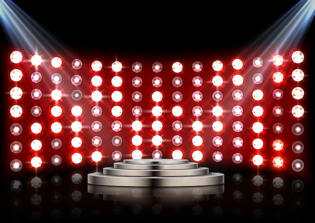 Stage podium with spotlights and red stagelight background