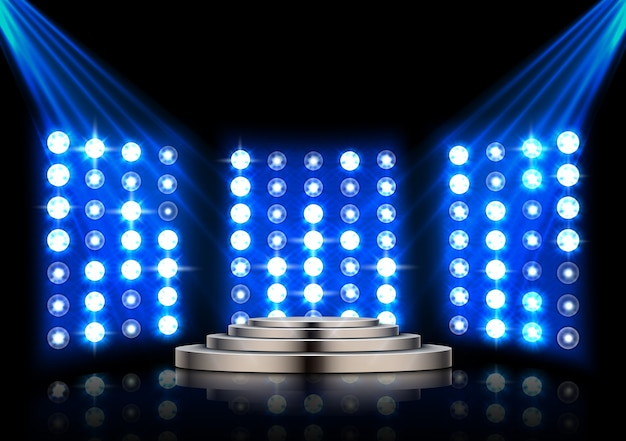 Stage podium with spotlights and stage light background