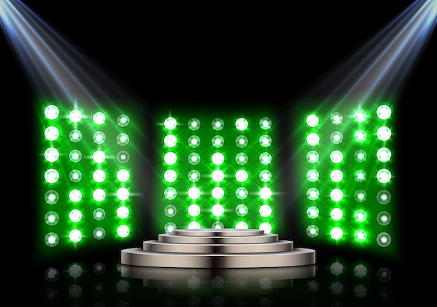 Stage podium with spotlights and stagelight background