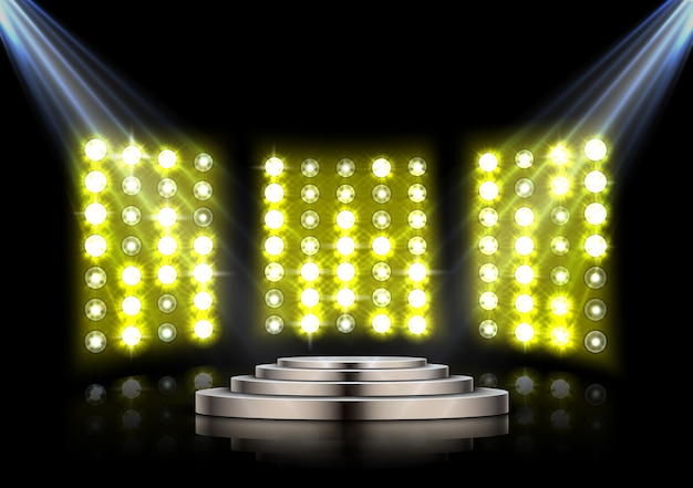 Stage podium with spotlights on yellow stage light