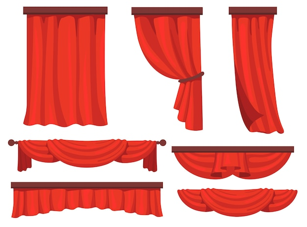Stage red curtains flat set for web design. cartoon fabric drapery in movie or opera vector illustration collection. window drapery and decoration concept