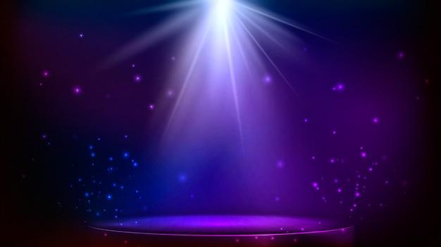 무대 스팟 조명. 마법의 빛. 파란색과 보라색 벡터 배경