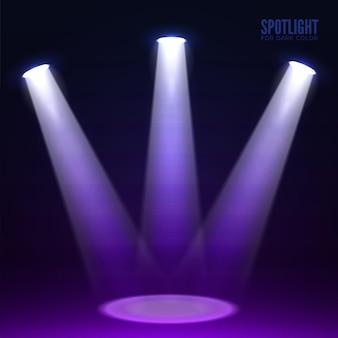 暗い背景にステージ スポット ライト Premiumベクター