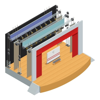 Stage for theater scenes with scenery decor elements and loop system for curtains