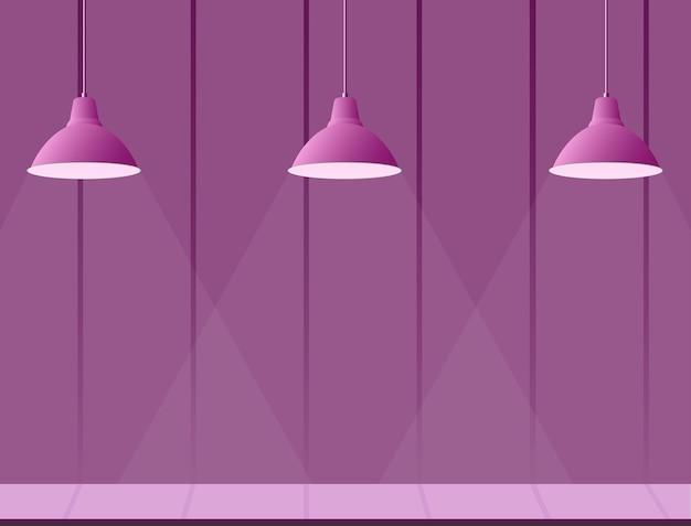 紫をテーマにしたステージと照らされたシャンデリア Premiumベクター