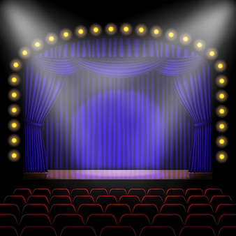 Stage with blue curtain background