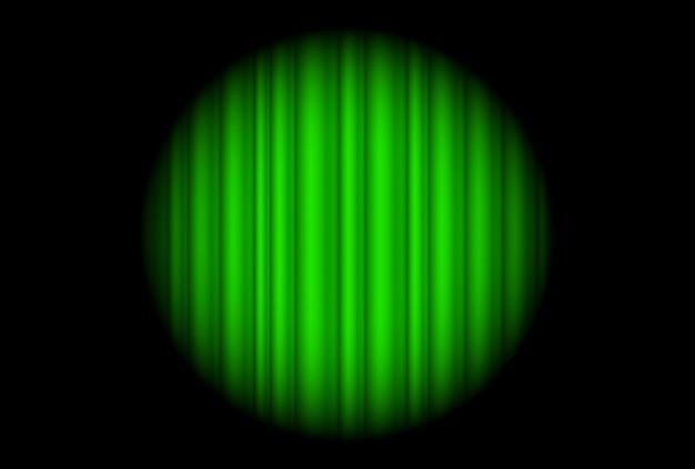 Сцена с зеленой занавеской и большим прожектором