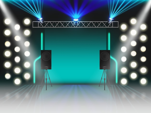 Stage with illumination and dynamics sound equipment. empty scene with glowing studio light effects, spotlights, laser neon rays, steel rack for lamps, loud speakers. 3d realistic vector illustration