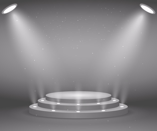 Stage with lights for awards ceremony. illuminated round podium. pedestal.