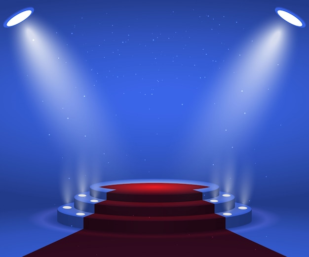 Stage with lights for awards ceremony. illuminated round podium with red carpet. pedestal.