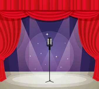 Stage vectors photos and psd files free download stage with microphone in spotlight with red curtain background vector illustration junglespirit Gallery