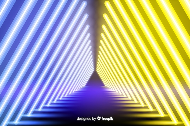 Palco con sfondo di luci al neon