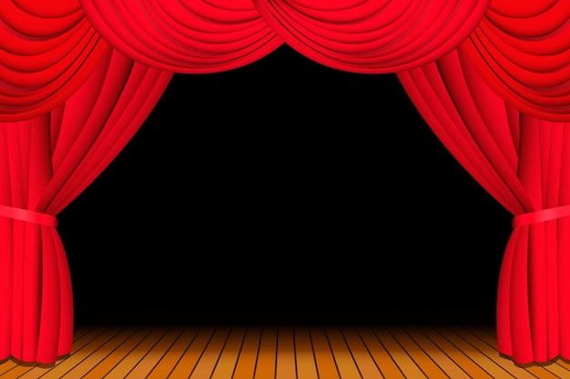 ショーのために開いた赤い劇場のカーテンのあるステージ