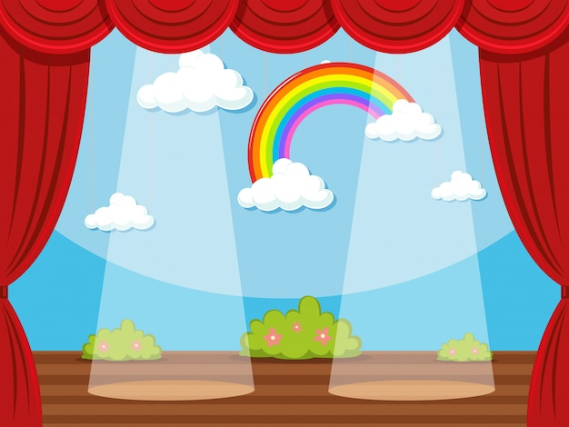 Stage with rainbow in backdrop